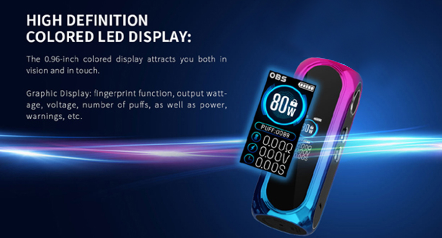 The 80W Cube Pro features a 0.96 Inch HD LED screen, displaying key vaping data including wattage, battery life and resistance.