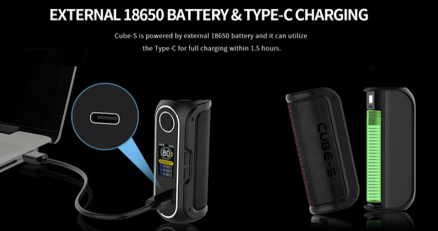 The OBS Cube S mod is powered by a single 18650 battery and features type C fast charging for an efficient recharge.