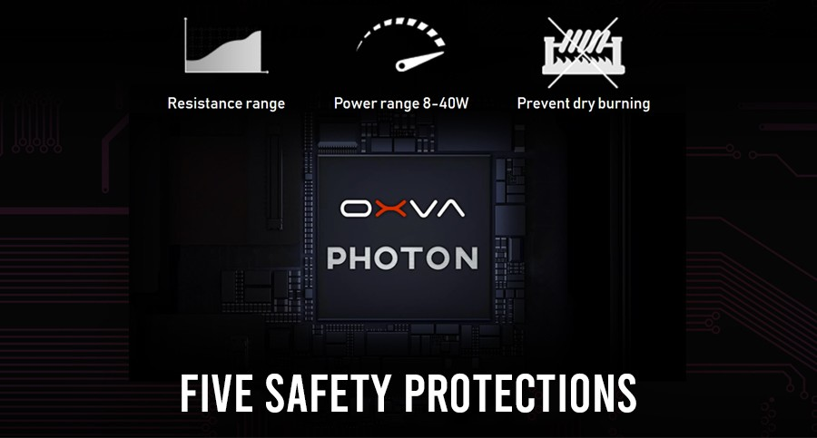 Fitted with the specially designed Photon chipset, the OXVA offers programmed protection against short circuits and overheating as well as dry burn protection.