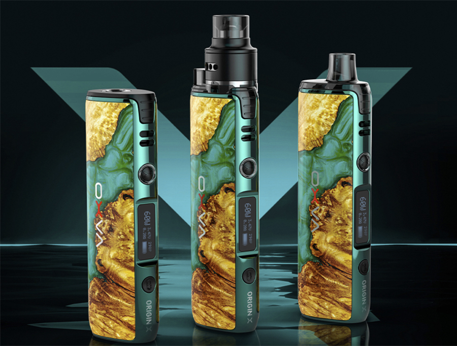 The OXVA Origin X pod kit features a 60W max output and is powered by a single 18650 battery.