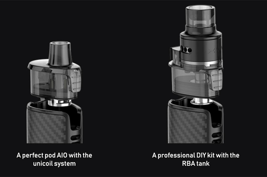 The Origin X is compatible with the regular removable coil 2ml Origin X pods as well as the advanced RBA tank pod for DIY coil building.