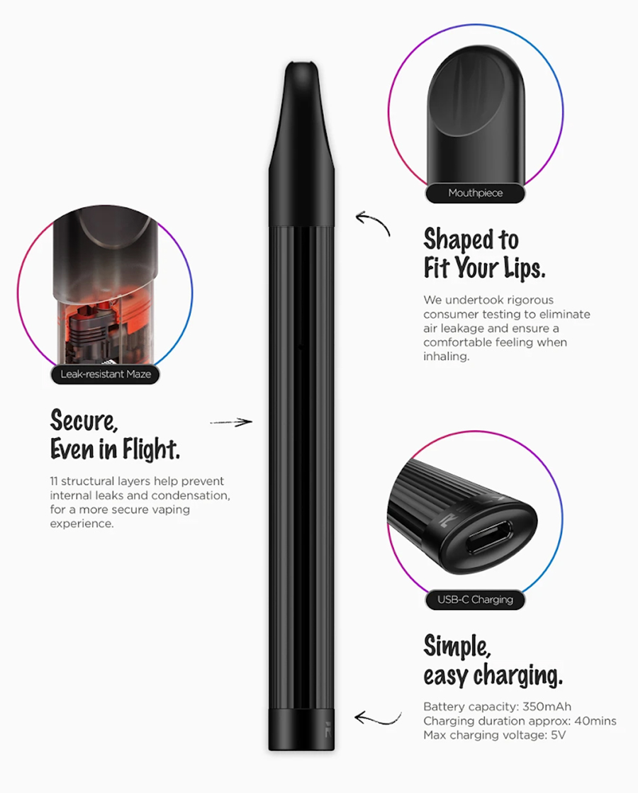The prefilled Relx Essential pod device features anti-leak technology, a curved overture mouthpiece design and a super lightweight construction.