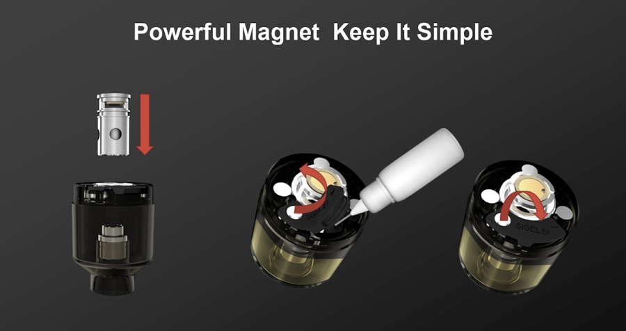 The 2ml Sigelei Fog pod tank features a press-fit coil installation as well as a bottom fill silicone stopper system.