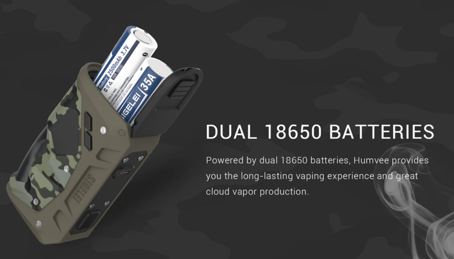The Sigelei Humvee 215 vape mod is powered by dual 18650 vape batteries, offering longer vaping and improved vapour production.