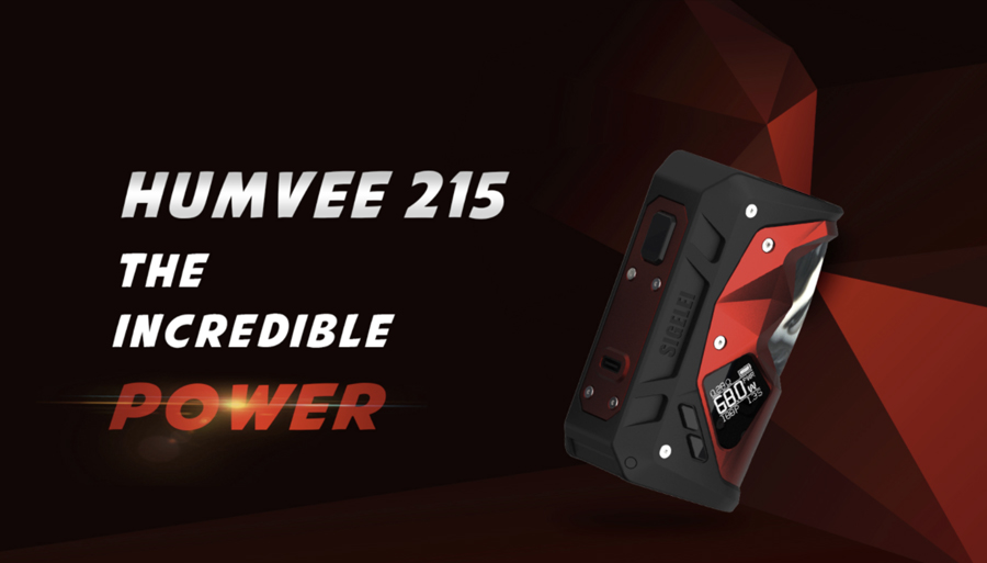 The Sigelei Humvee 215 vape mod is a powerful sub ohm device that's recommended for intermediate and advanced vapers.