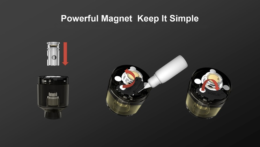 The Sigelei Fog pod will hold up to 2ml of e-liquid and is simple to refill thanks to the secure bottom seal.