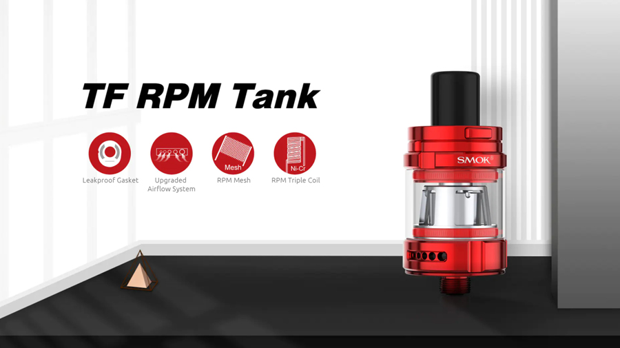 The Smok TF RPM tank features an adjustable airflow, leak proof gasket and can be paired with the RPM coil series, in mesh and triple coil variants.