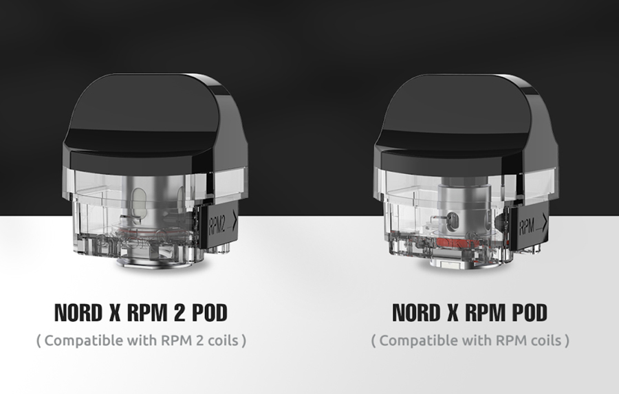 The Nord X is compatible with two pod variants, the Nord X RPM2 and the Nord X RPM which both employ their respective coil series'.