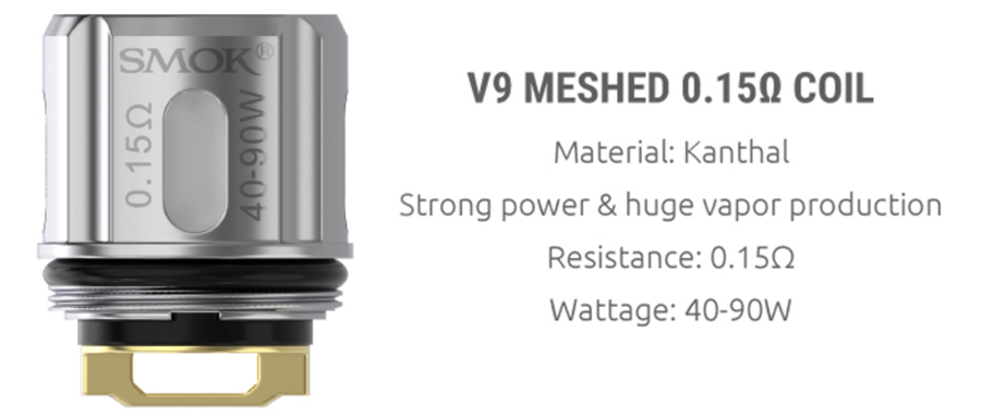 The TFV9 tank employs the V9 meshed 0.15 ohm coil, providing clear flavour with large cloud production.