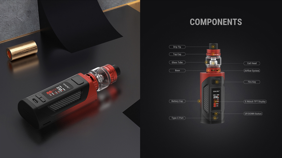The Smok Rigel is a sub ohm vape kit which features a carbon fibre and rubber coating construction.