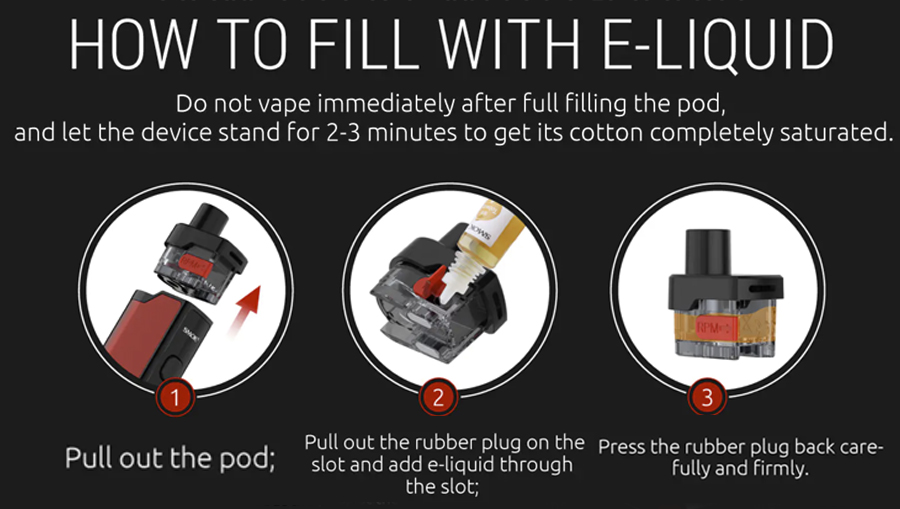 The Smok RPM Lite refillable pods feature a removable coil system and can be filled with the side silicone stopper.