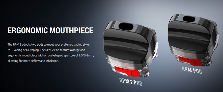 The RPM2 pods feature a side fill silicone stopper method, an oval shaped overture mouthpiece and employ the RPM and RPM2 coil series'.