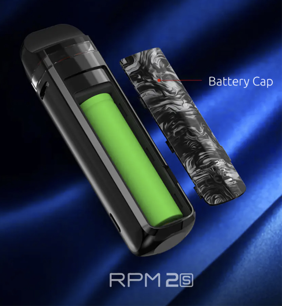 The Smok RPM2S pod kit is a sub ohm pod mod, following the same design as the admired RPM2 pod kit, with a magnetic battery cap door.