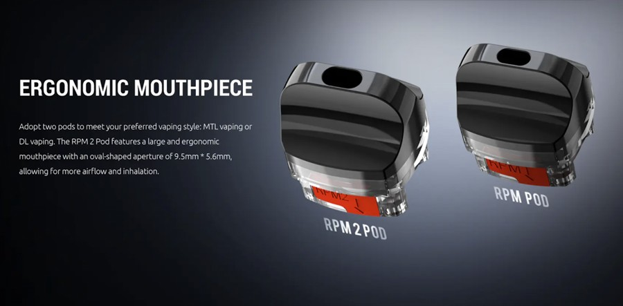The RPM2S can be paired with either the RPM or RPM2 pod, with each employing their own coil series for added versatility.