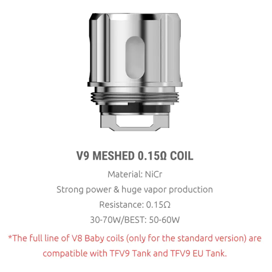 The Smok V9 vape coils combine a mesh build and low resistance for greater vapour production.