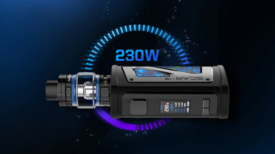 The Scar-18 vape kit by Smok features a 230W max output and is powered by dual 18650 vape batteries.