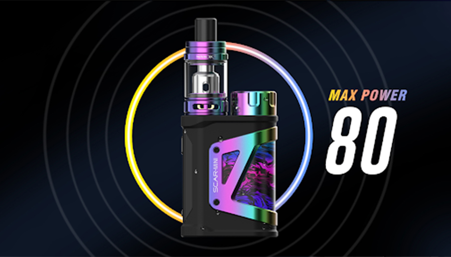 The Smok Scar Mini kit features an 80W max output which can be adjusted using Variable Wattage for a versatile and customisable vape.