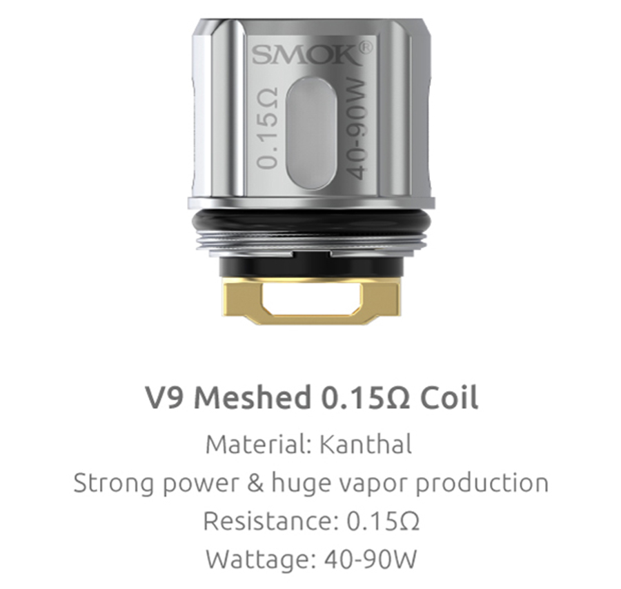 The TFV9 2ml tank is compatible with the V9 mesh coils, available in a 0.15 ohm resistance, for large cloud production and clear flavour.