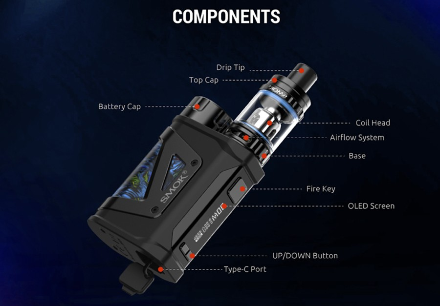 The Smok Scar Mini kit is a sub ohm vape kit with a pocket-friendly form factor, perfect for vaping on the go.