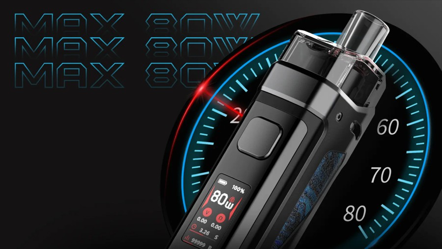 The Smok P5 Kit features an adjustable 80W output for different levels of vapour and flavour production.