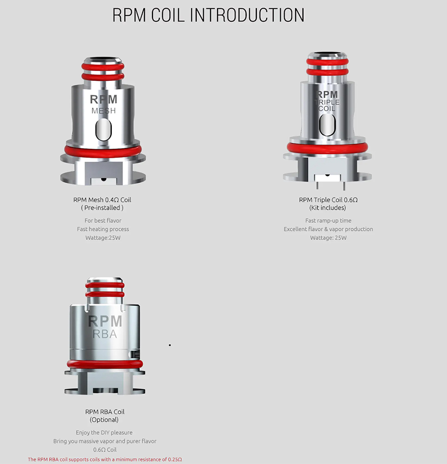 The TF RPM vape tank is compatible with the RPM coil series, including mesh and RBA coil variants.