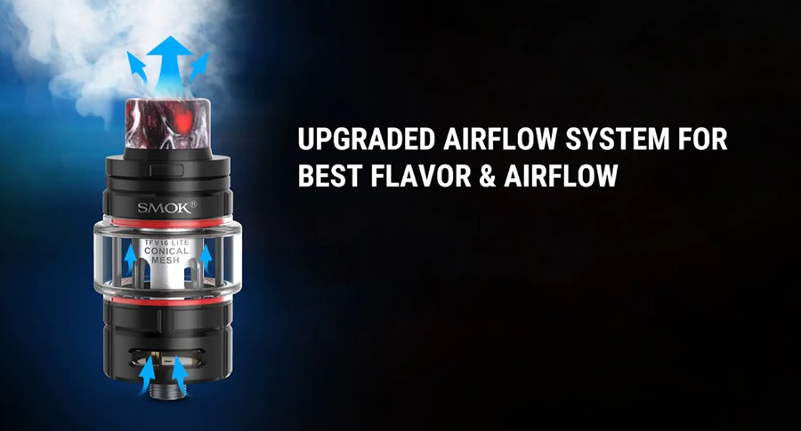 The 2ml TFV16 Lite tank features a bottom dual adjustable airflow, giving users precise control over inhalation.