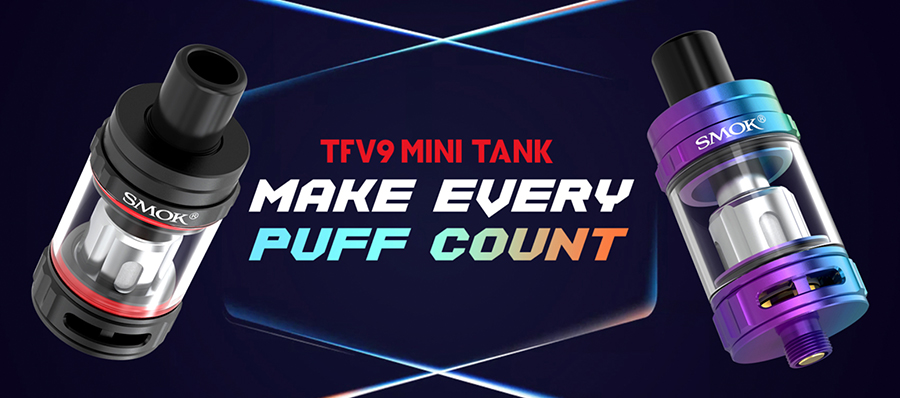 The Smok TFV9 Mini tank is a discrete sub ohm vape tank with a 23mm diameter and a 510 connection point allowing it to be paired with the majority of vape mods.