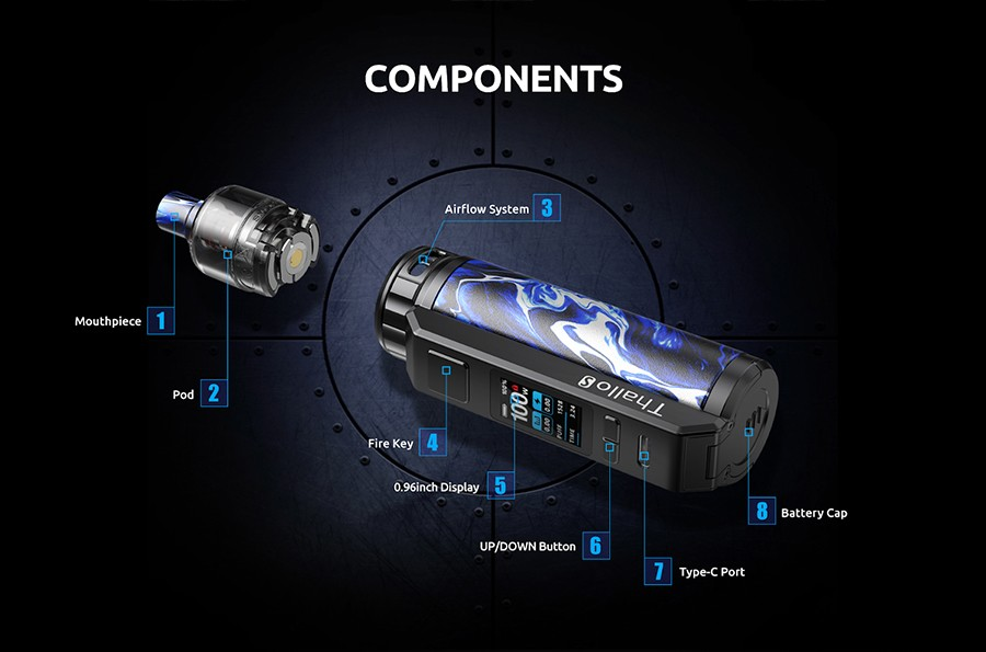 The Smok Thallo S is a sub ohm pod kit which features an extensive power output of a maximum 100W, supporting both MTL (Mouth To Lung) and DTL (Direct To Lung) vaping.