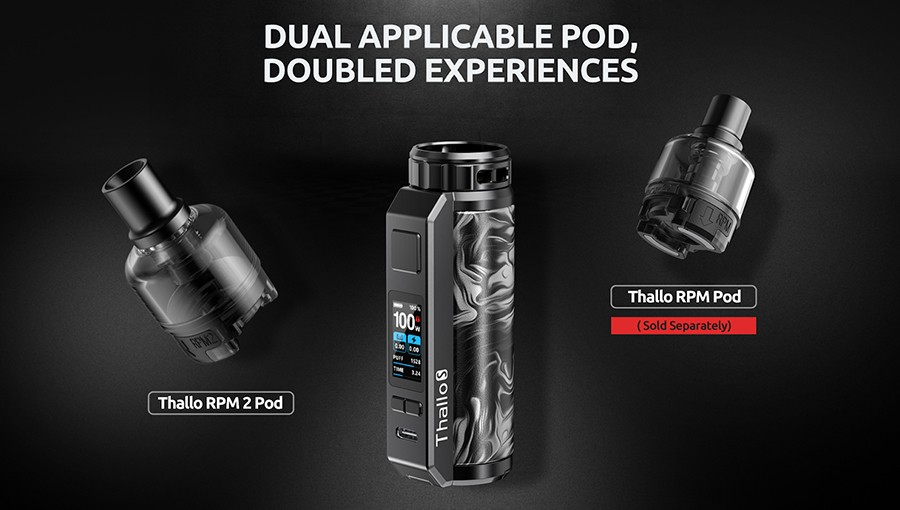 The Smok Thallo S kit is compatible with the Thallo RPM and Thallo RPM2 pods, which employ the RPM and RPM2 coil series respectively.