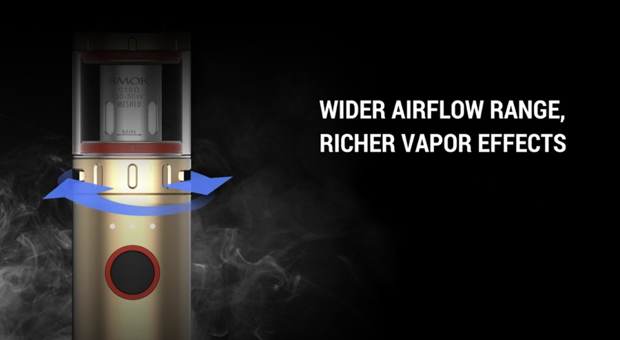 The 60W Vape Pen V2 features an adjustable bottom airflow for versatility over inhalation preferences.