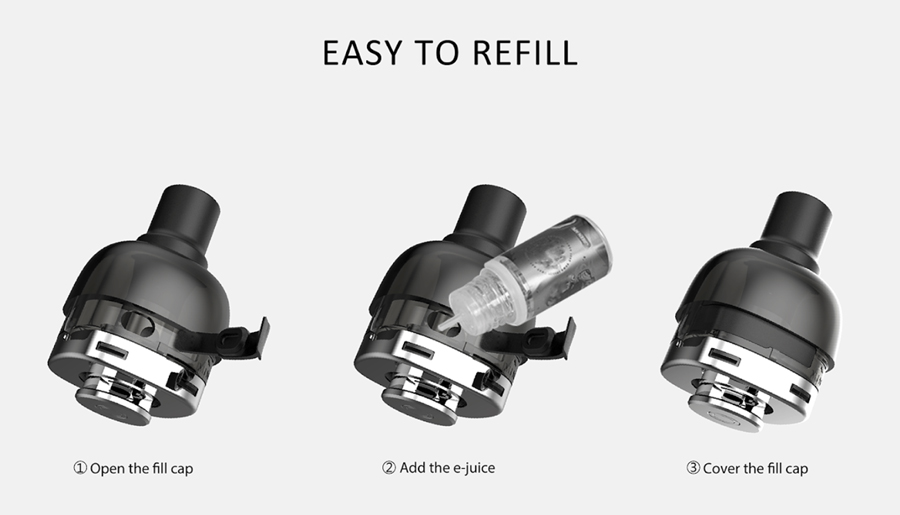 The 2ml P40 Mini replacement pods are refilled via a side fill silicone stopper and feature an adjustable airflow by rotating the coil.