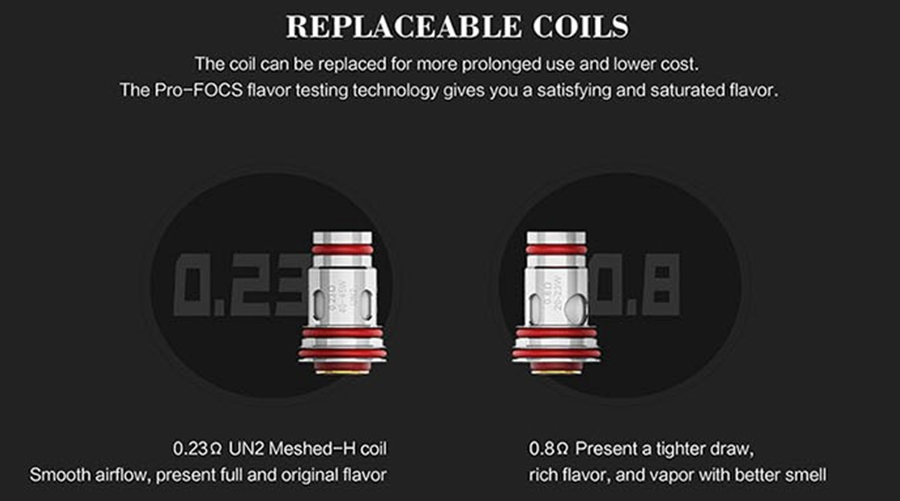The Aeglos coils are available in two variants, with one designed for discreet vapour production and the other for improved vapour production.
