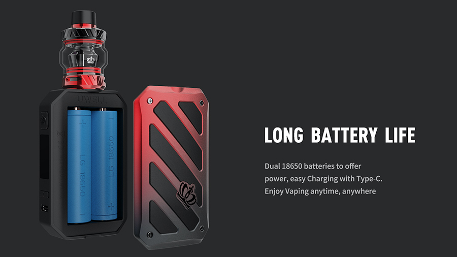 Powered by dual 18650 vape batteries, the Crown 5 sub ohm kit lasts for longer between charges and never struggles to reach higher wattage levels.
