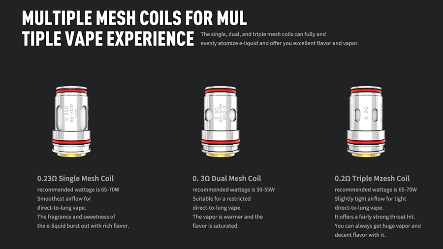 The Uwell Crown 5 vape coils are available in three different resistances - giving you the option to experiment and discover your perfect vape. The mesh build in each coil heats more e-liquid at a faster rate for a flavour boost.