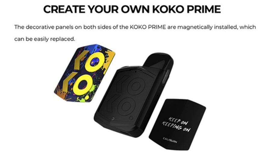 The Caliburn Koko Prime pod kit provides versatility with magnetic decorative panels allowing for a personal touch.