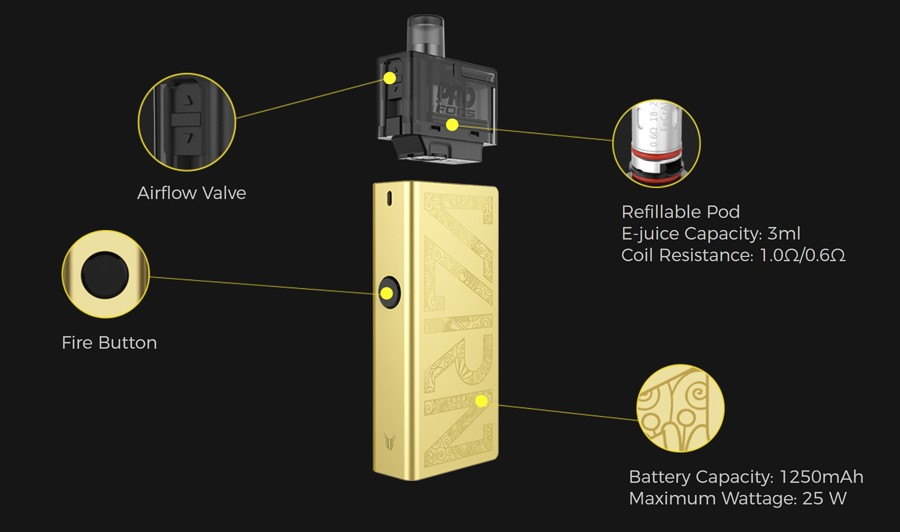 The Uwell Valyrian pod kit can be utilised for MTL and DTL vaping and is powered by a 1250mAh battery with a 25W max output.