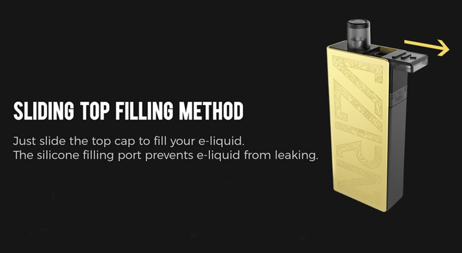 The 2ml Valyrian pods feature a sliding top fill method for an easy refill which reduces the chance of leakage.