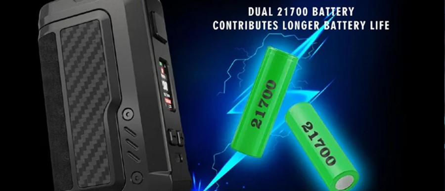 The Vandy Vape Gaur-21 relies on dual 21700 batteries for a longer life and the ability to reach high wattages quickly.