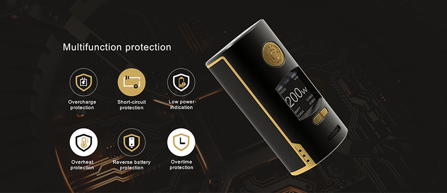 The Kriemhild 200W mod features a range of safety protections including short circuit, overcharge and overtime protection for a secure vaping experience.