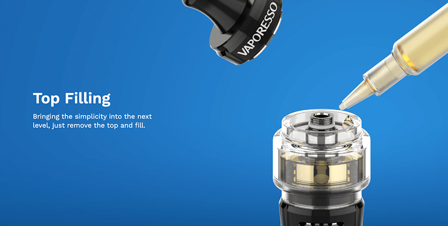 The Vaporesso GTX 18 MTL tank features a simple top fill method for an easy refill.