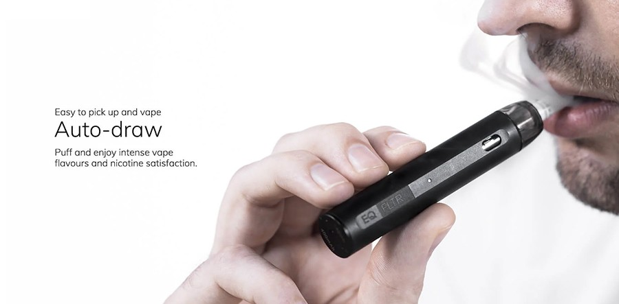 The Innokin EQ FLTR features an inhale activation with no buttons to contend with, for a simple operation.