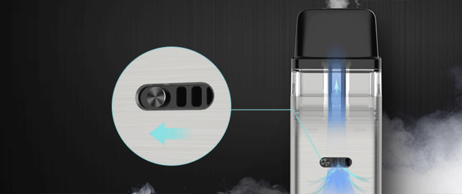 The XROS pod kit features an adjustable airflow toggle which can be used to alter the type of inhale achieved.