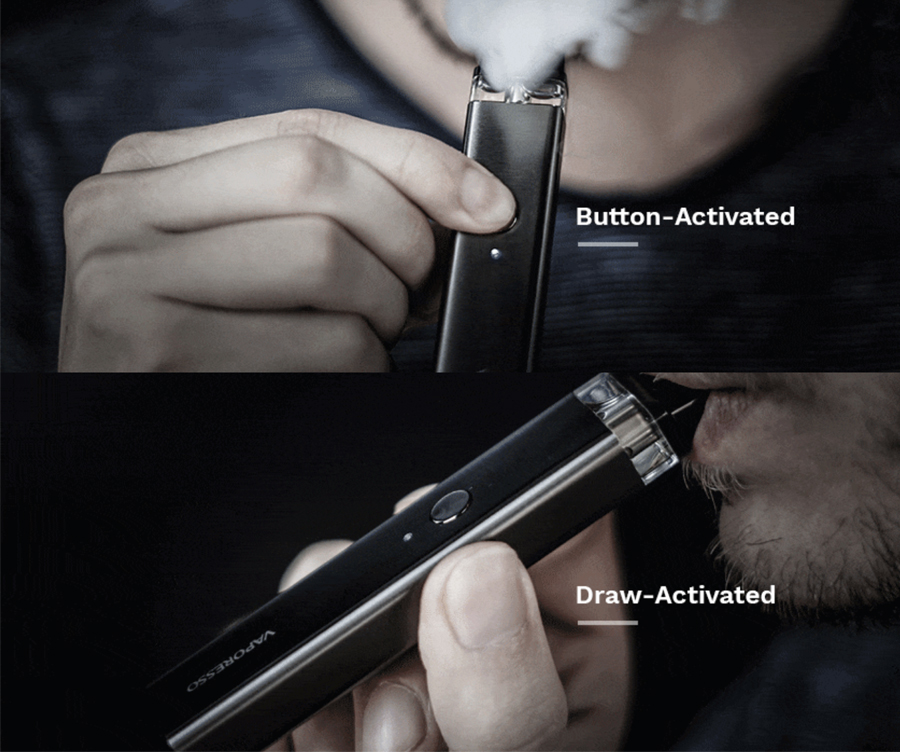 The 800mAh XROS pod kit features a dual activated firing method, with an inhale activation and a button operation to choose from.