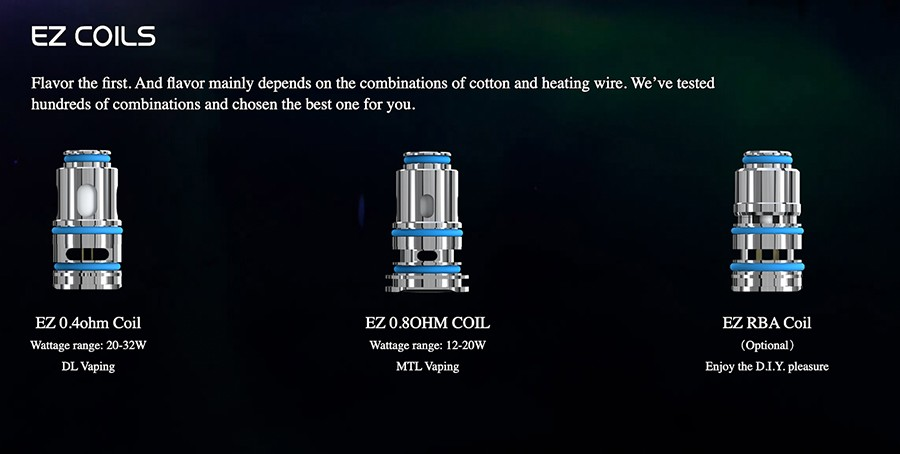 The Obliq pods are compatible with the EZ coil series, available in both MTL and DTL variants to suit different vaping styles.