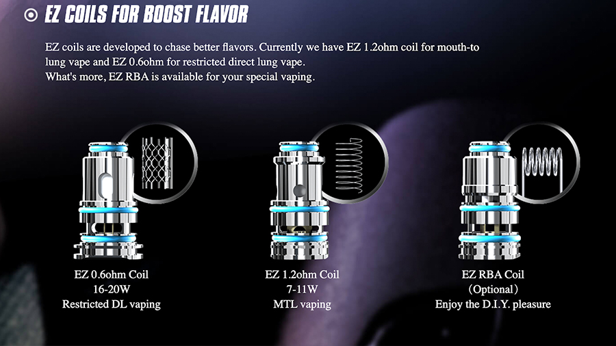 The 2ml Tralus EZ pods are compatible with Joyetech EZ coil range, available in a range of resistances and builds including an RBA variant.