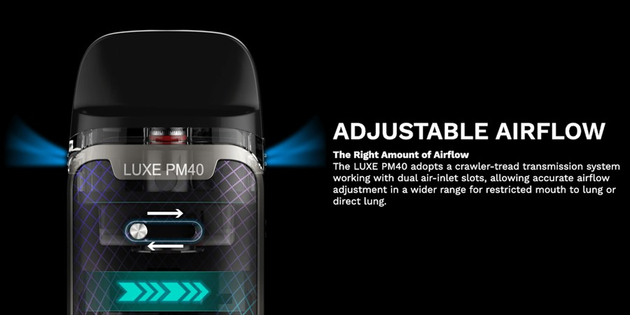The 40W PM40 pod kit features a sleek adjustable airflow toggle, giving vapers choice over their inhalation.