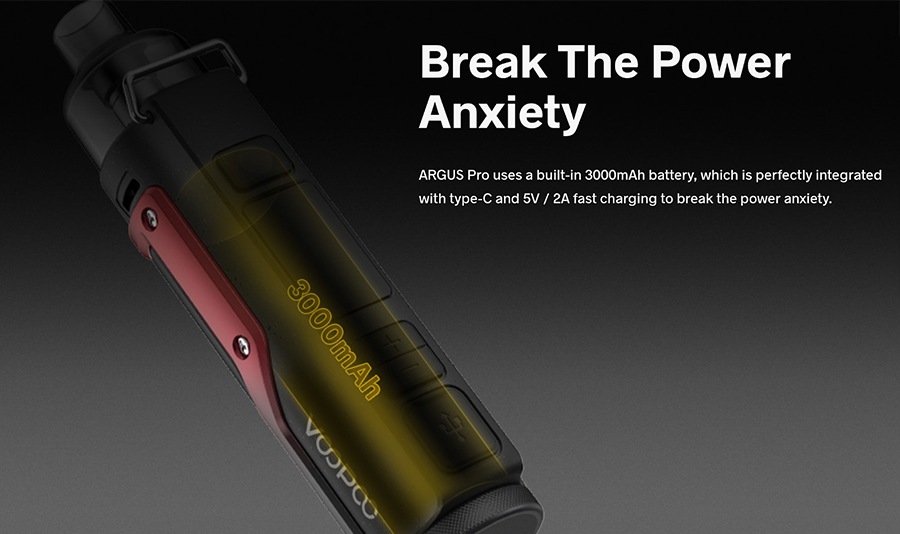 The Argus Pro pod device is powered by a 3000mAh built-in battery, with an adjustable wattage output of up to 80W.