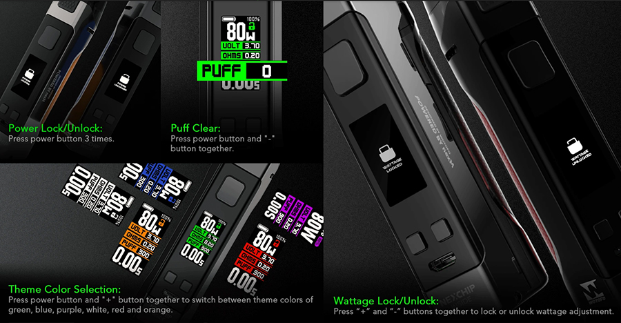 The 80W Manik pod device features a locking function, puff counter and a theme colour selection for the 0.96 Inch TFT full colour screen.