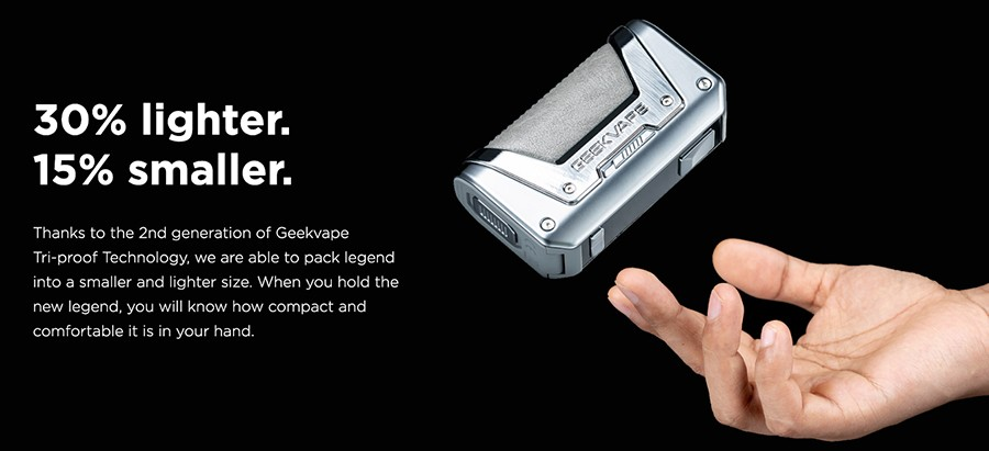 Smaller and lighter than the previous Aegis kit, the GeekVape Legend 2 sub ohm kit is ideal for vaping on the go.