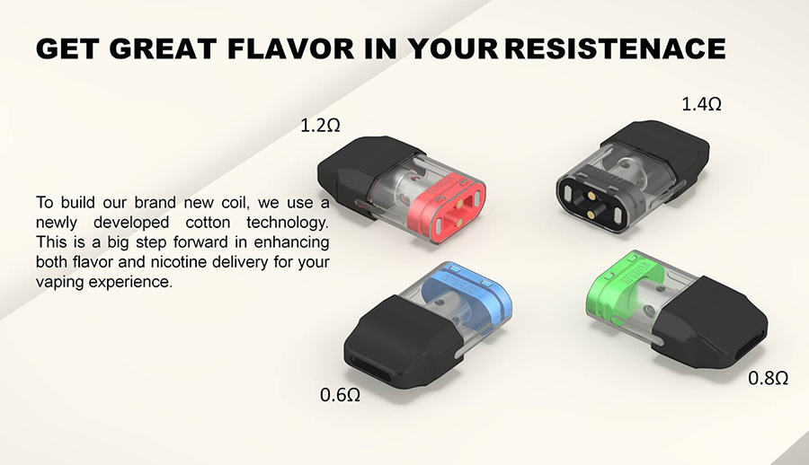 With four different pods available, you'll have more options than ever to customise your kit to find your ideal vape. All the pods will support MTL vaping.